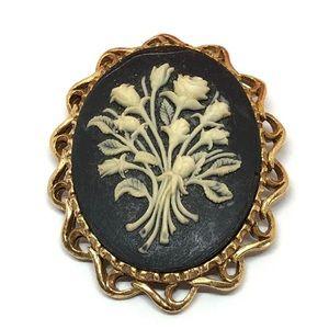 🆕Vintage Gold & Black Bundle of Roses Cameo Pin